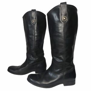 ✨HP✨ FRYE MELISSA TALL RIDING BLACK LEATHER BOOTS
